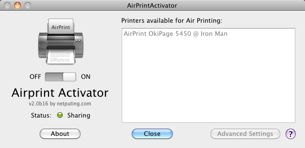 Airprint Activator skärmdump